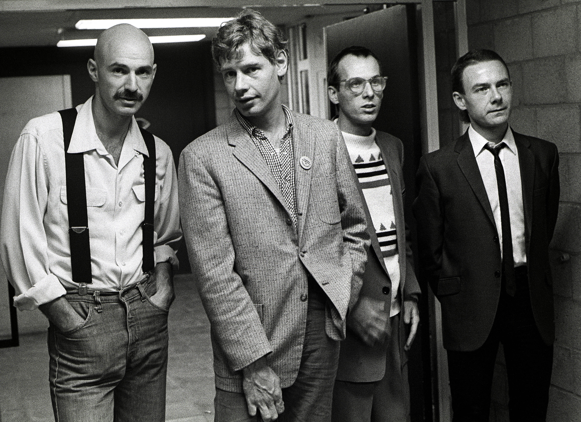 King Crimson, group portrait, backstage at Vredenburg, Utrecht, Netherlands, 12th October 1981. L-R Tony Levin, Bill Bruford, Adrian Belew and Robert Fripp. (Photo by Rob Verhorst/Redferns)