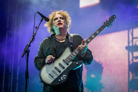 Robert Smith from The Cure performs on stage at The Oyafestivalen on August 7, 2019 in Oslo, Norway.