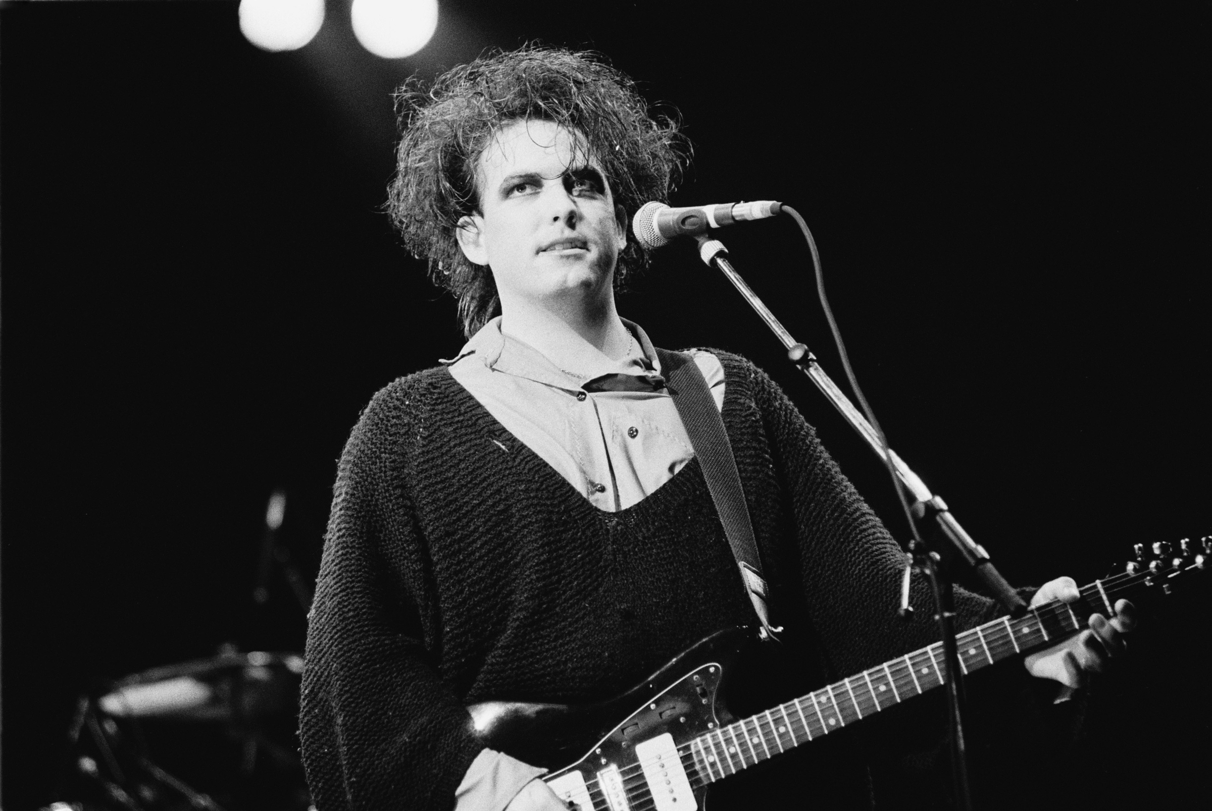 Robert Smith, vocal, performs with The Cure at Torhout/Werchter festival in Torhout, Belgium on 7th July 7th, 1989.