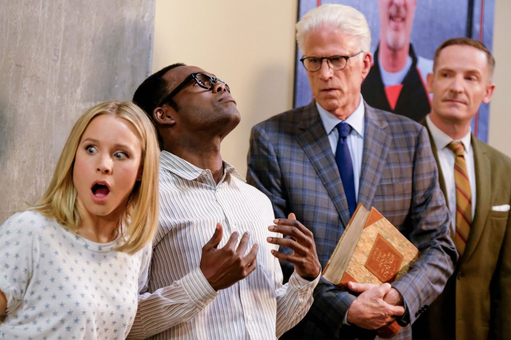 Pictured: (l-r) Kristen Bell as Eleanor, William Jackson Harper as Chidi, Ted Danson as Michael, Marc Evan Jackson as Shawn Photo by Colleen Hayes/NBC