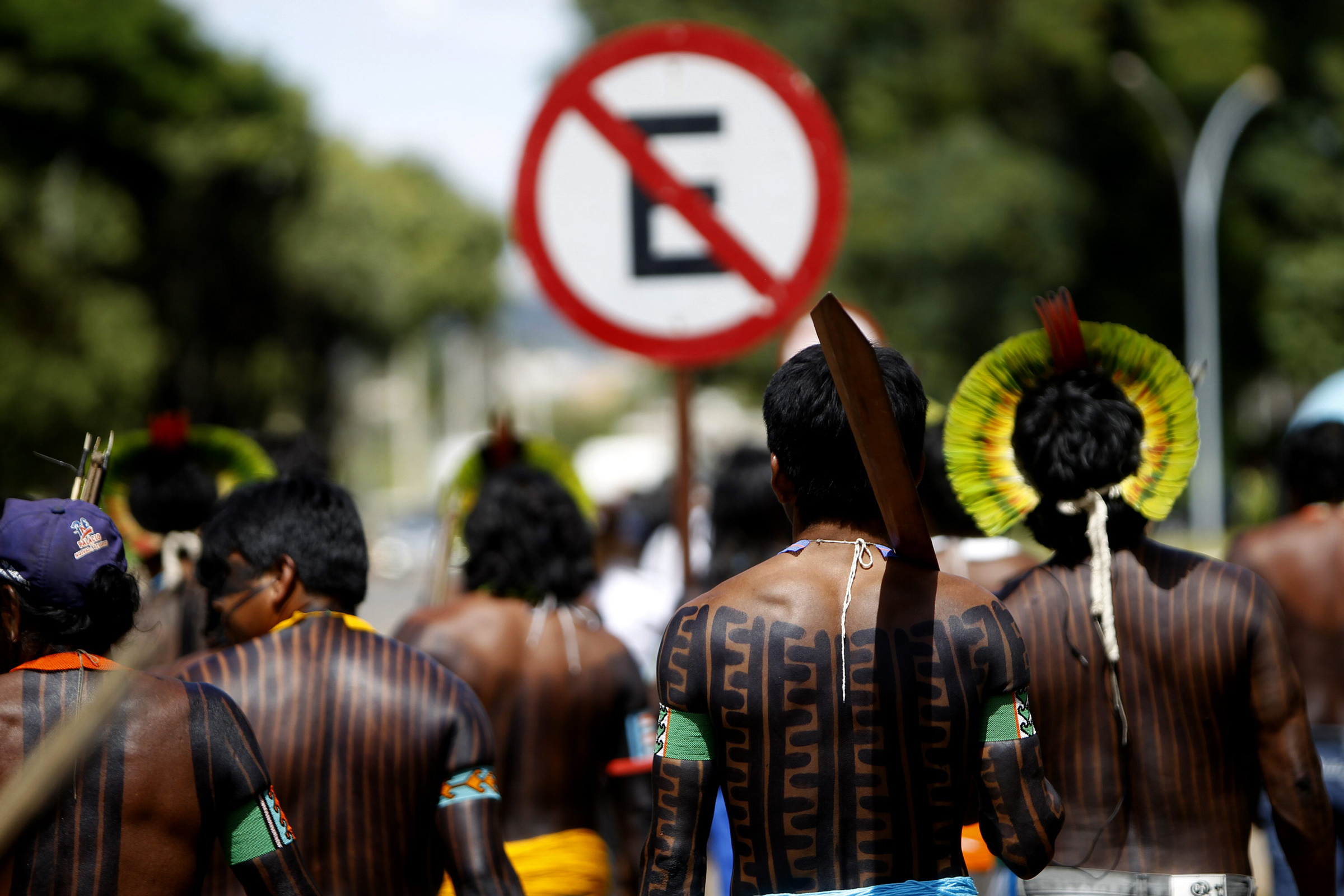 Members of the Indigenous Kayapo Ethnic Group Hold a Protest Against the Construction of the Br-163 Highway at Sourthern Para in Front of the Planalto Palace in Brasilia Brazil 02 February 2015 Br-163 is a Highway That Stretches For Over 4 000 Km From Santarem (para State) and Tenente Portela (rio Grande Do Sul State) Brazil BrasiliaBrazil Protests - Feb 2015