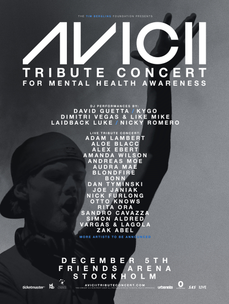 David Guetta and Adam Lambert are among the artists set to perform at the Avicii Tribute Concert.