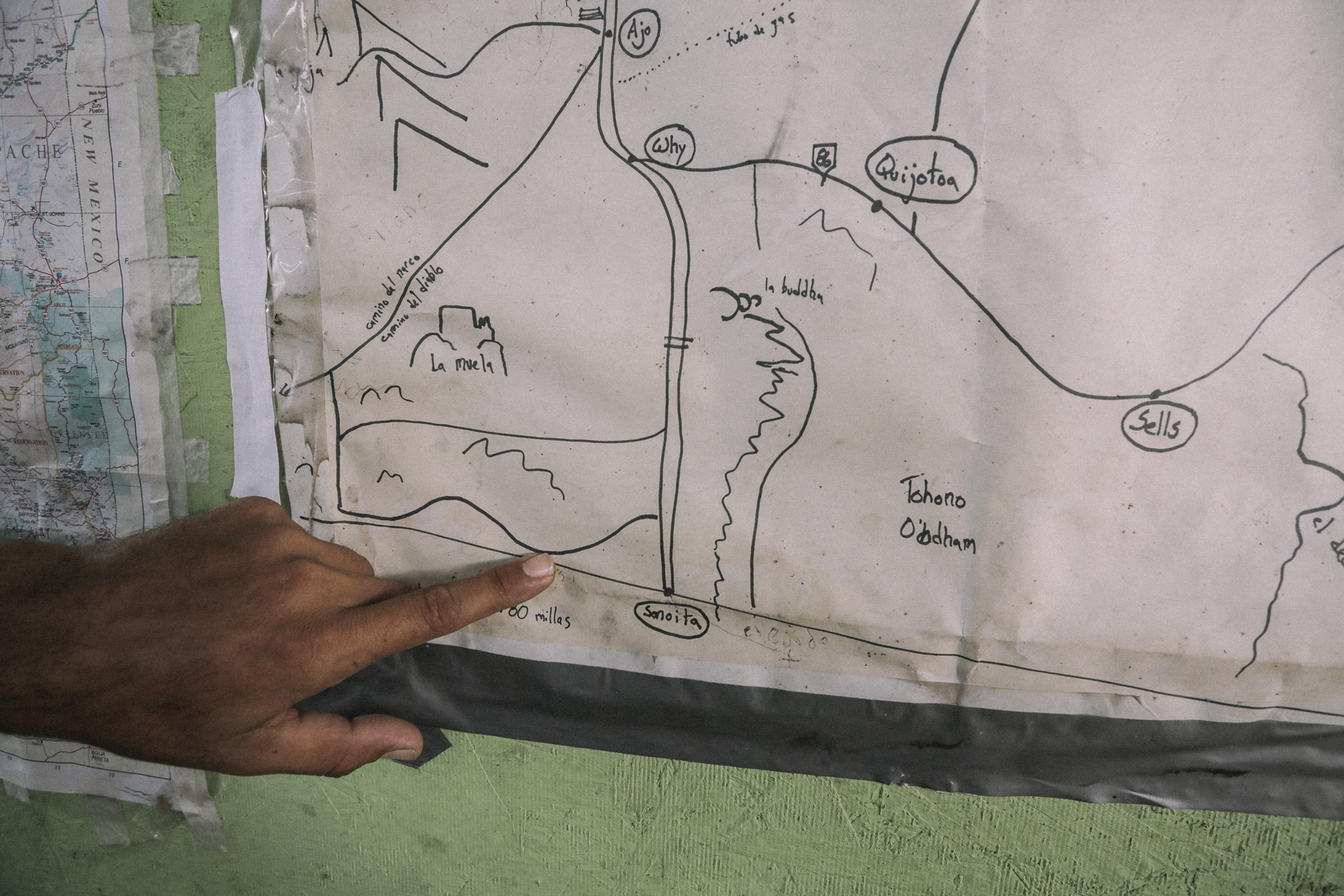 2261: A hand-drawn map posted on the wall of the Sonoyta shelter gives migrants a rough idea of the surrounding desert. June 2019. Photo by Jason Motlagh.