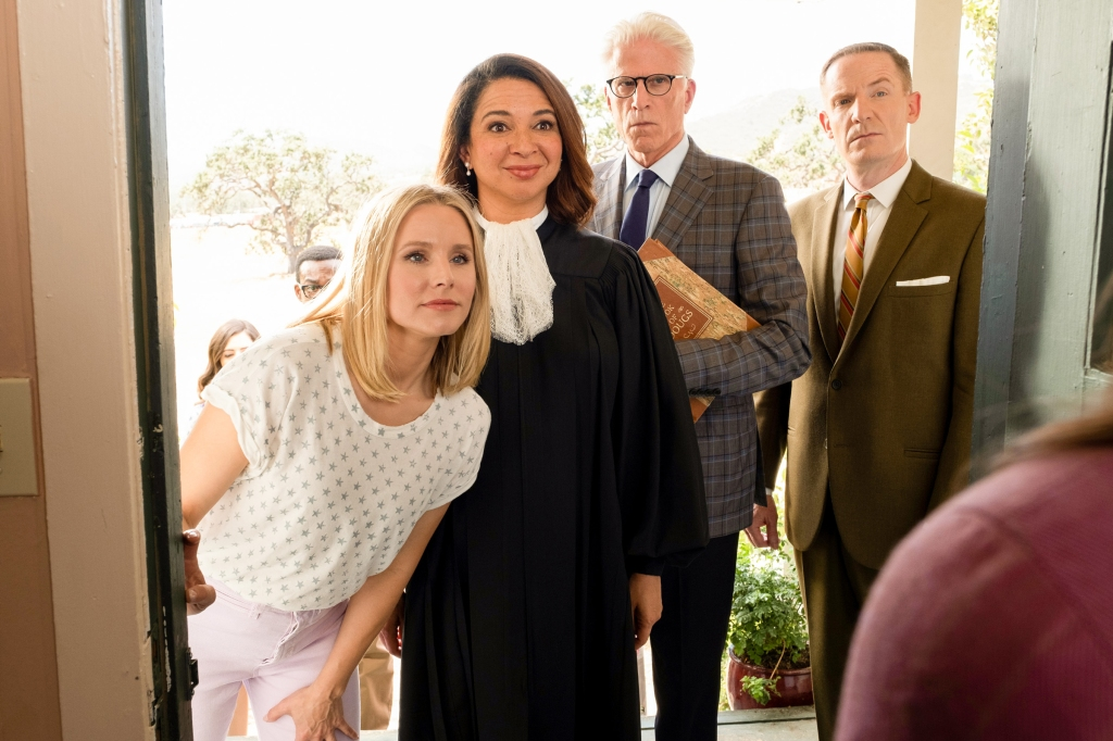 Pictured: (l-r) Kristen Bell as Eleanor, Maya Rudolph as Judge, Ted Danson as Michael, Marc Evan Jackson as Shawn. Photo by Colleen Hayes/NBC
