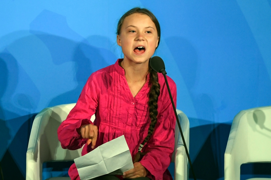 Youth Climate activist Greta Thunberg speaks during the UN Climate Action Summit on September 23, 2019 at the United Nations Headquarters in New York City. (Photo by TIMOTHY A. CLARY / AFP)        (Photo credit should read TIMOTHY A. CLARY/AFP/Getty Images)
