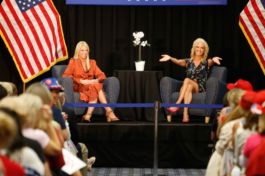 August 22, 2019, Tampa, Florida, USA: Former Florida Attorney General PAM BONDI, left, and KELLYANNE CONWAY talk on stage during the 'Women for Trump: An Evening to Empower' event held at the Tampa Convention Center in downtown on Thursday. Tampa Women for Trump host íAn Evening to Empower', a campaign coalition event centered around the 99th anniversary of the ratification of the 19th amendment at the Tampa Convention Center. (Credit Image: © Octavio Jones/Tampa Bay Times via ZUMA Wire)