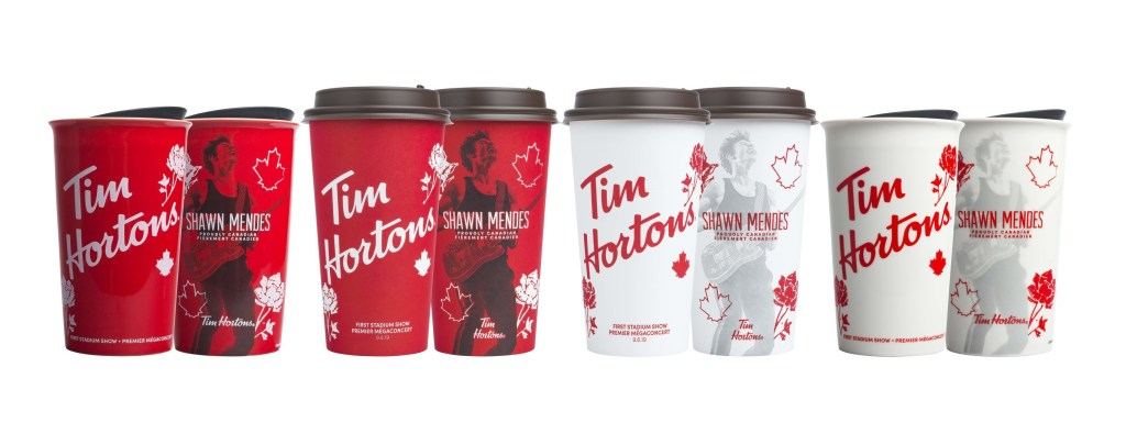 Shawn Mendes x Tim Hortons limited edition cups will be available across Canada starting on August 30 (CNW Group/Tim Hortons)