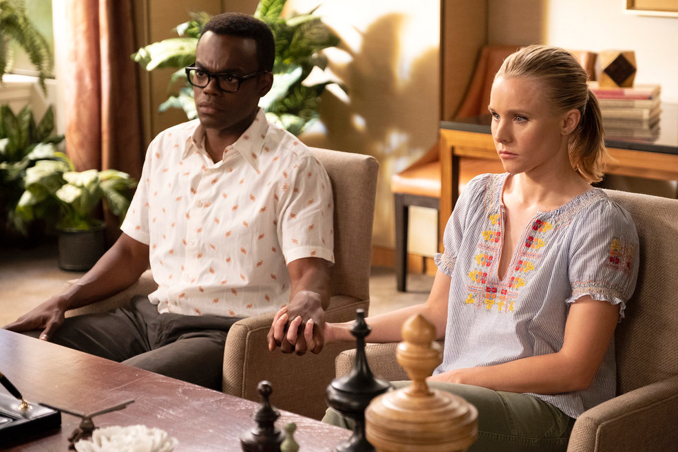 Pictured: (l-r) William Jackson Harper as Chidi Anagonye, Kristen Bell as Eleanor Shellstrop. Photo by Colleen Hayes/NBC