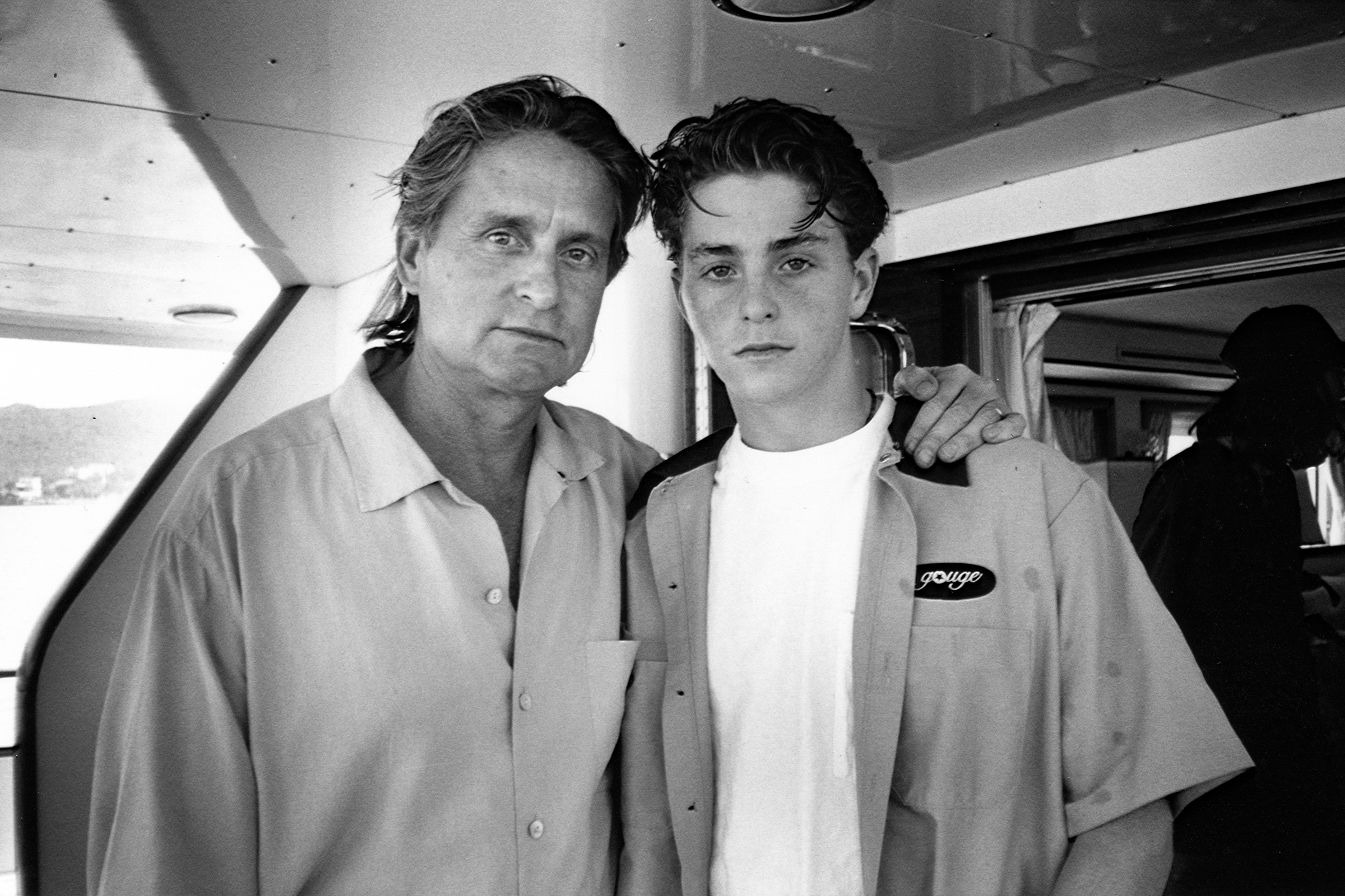 Cameron with his father, Michael on Lake Shasta. Photo credit: Michael Douglas Collection, Howard Gotlieb Archival Research Center at Boston University
