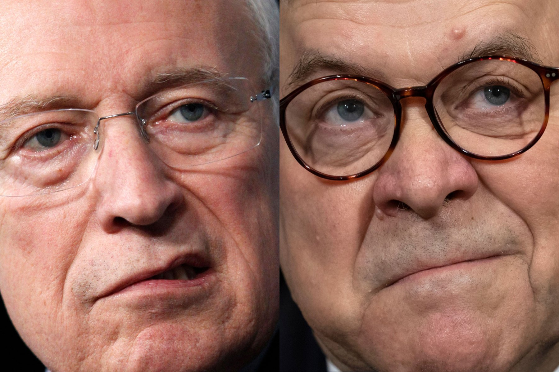 Former Vice President Dick Cheney (left) and current U.S. Attorney General William Barr (right)
