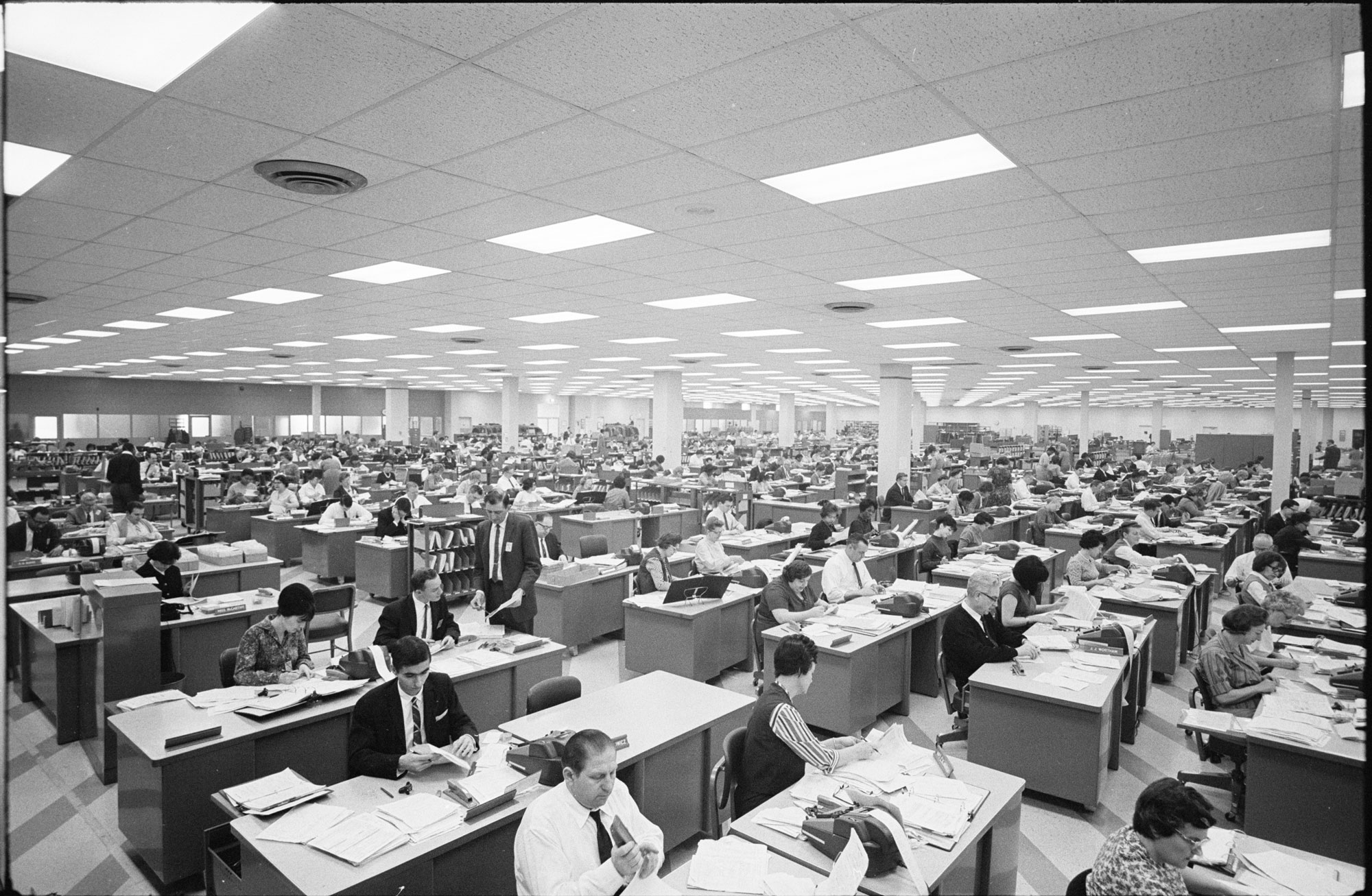 Elevated view of employees as they process tax returns at a regional IRS office, Philadelphia, Pennsylvania, March 11, 1965. (Photo by U S News & World Report Collection/Marion S Trikosko/PhotoQuest/Getty Images)
