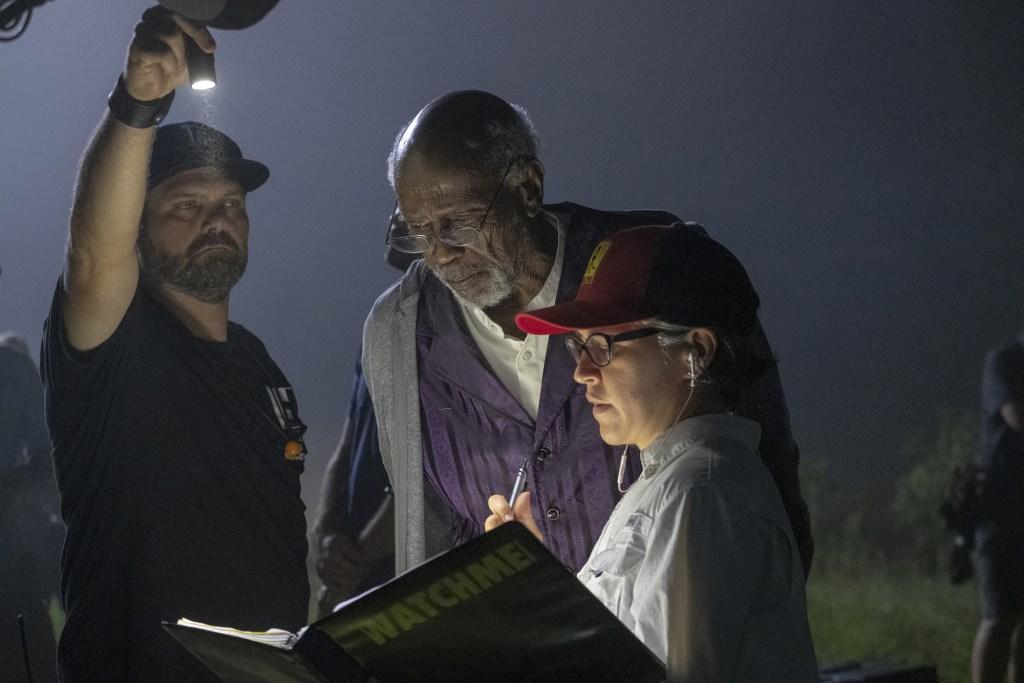 Director Nicole Kassel and Louis Gossett Jr on set of Watchmen.
