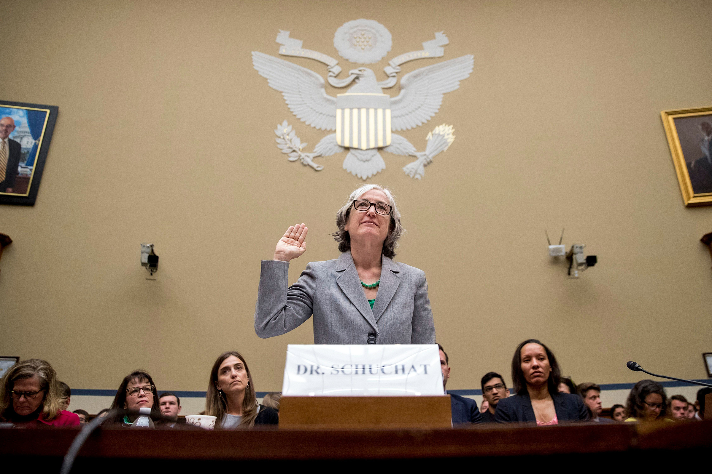CDC Principal Deputy Secretary Dr Anne Schuchat is sworn in as she appears before a House Oversight subcommittee hearing on lung disease and e-cigarettes on Capitol Hill in WashingtonVaping Illness Congress, Washington, USA - 24 Sep 2019
