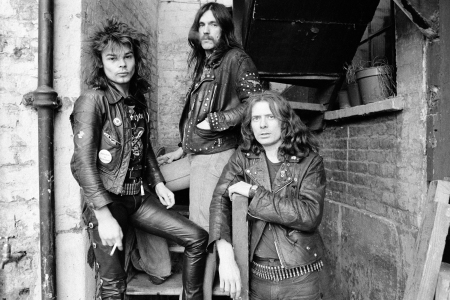 British heavy rock band Motorhead, London, 1978. Left to right: drummer Phil 'Philthy Animal' Taylor, bassist and singer Lemmy (Ian Kilmister) and guitarist 'Fast' Eddie Clarke. (Photo by Estate Of Keith Morris/Redferns)