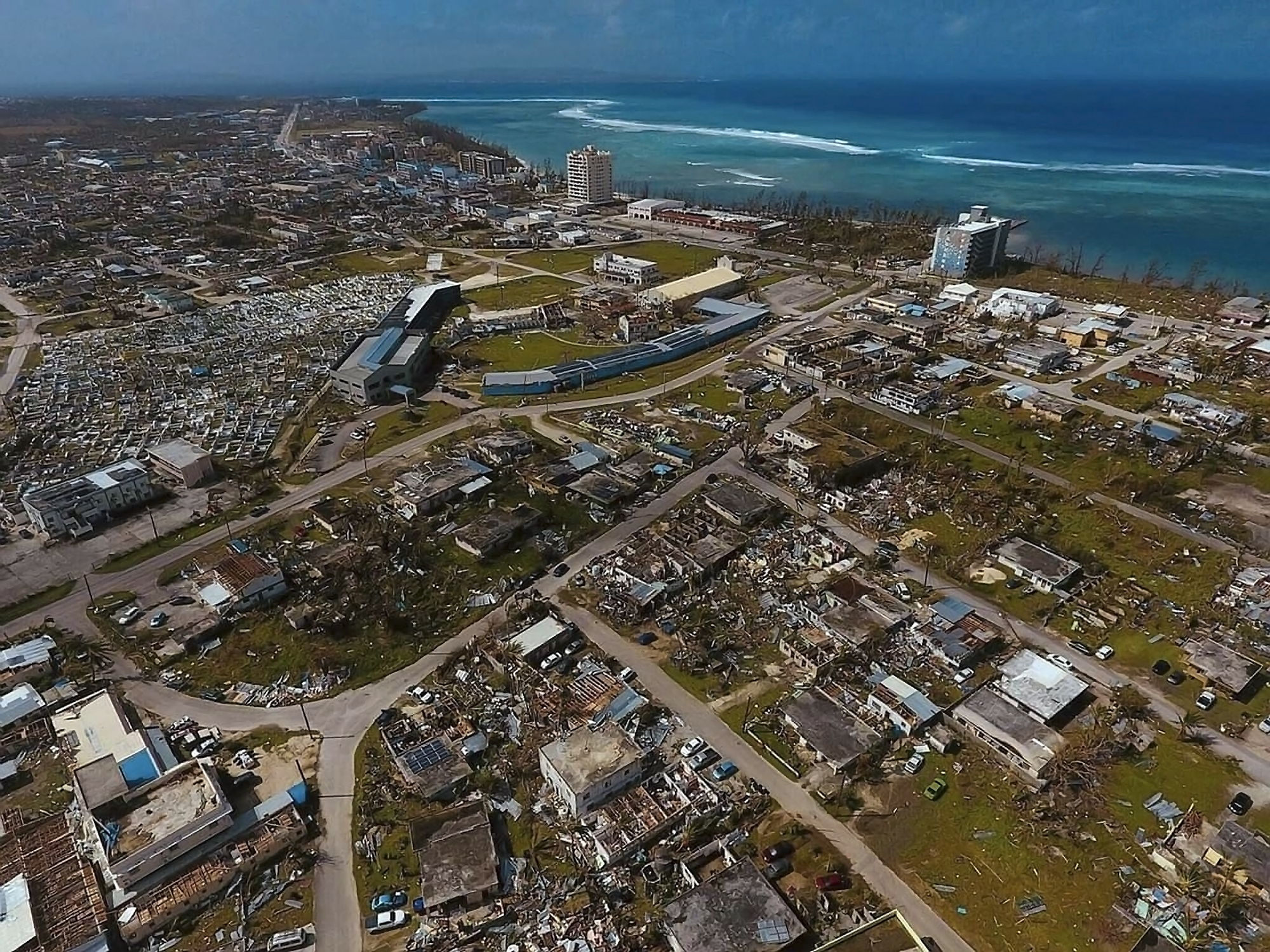 November 4, 2018 - Saipan, Northern Mariana Islands, United States of America - An aerial photo showing the southern end of Saipan almost completely destroyed by Super Typhoon Yutu November 4, 2018 in Saipan, Commonwealth of the Northern Mariana Islands. The islands were devastated by Typhoon Yutu on October 28th, the strongest typhoon to impact the Mariana Islands on record. (Credit Image: © James May via ZUMA Wire)