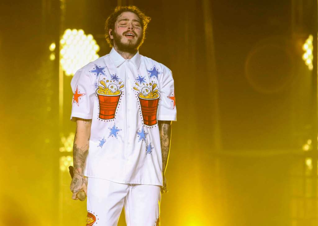 Post Malone, Austin Richard Post. Post Malone performs during the Bud Light Super Bowl Music Fest Day 2 at State Farm Arena, in AtlantaBud Light Super Bowl Music Fest ? Day 2 ? Show, Atlanta, USA - 01 Feb 2019