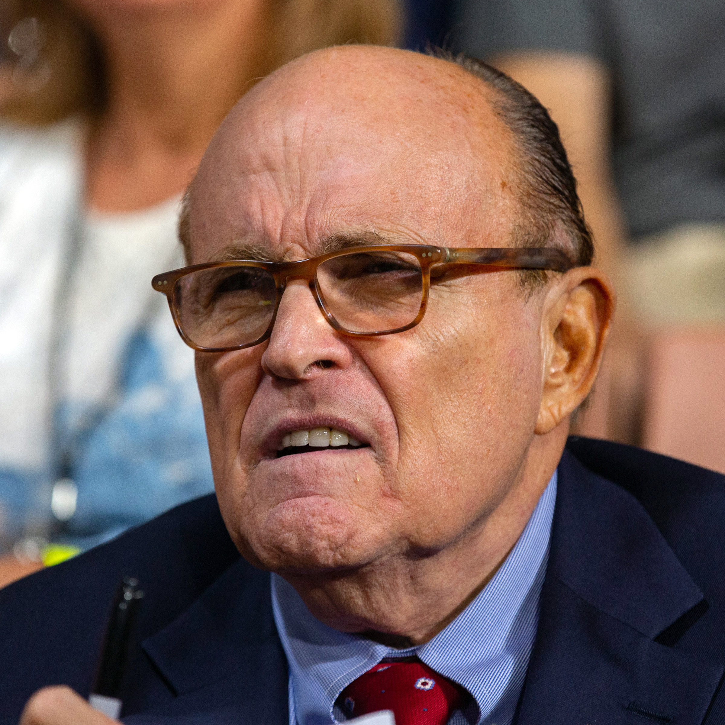Former New York City Mayor Rudy GiulianiUS President Donald Trump, US Presidential Election Campaigning, Manchester, USA - 15 Aug 2019