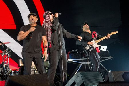 Chuck D, B-Real, Tom Morello. Chuck D, from left, B-Real and Tom Morello of Prophets of Rage perform at the 2017 KROQ Almost Acoustic Christmas at The Forum, in Inglewood, Calif2017 Almost Acoustic Christmas - Day 1, Inglewood, USA - 09 Dec 2017