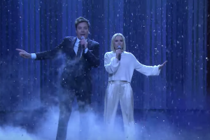 "Kristen Bell and Jimmy Fallon sing the ""history of Disney songs."""