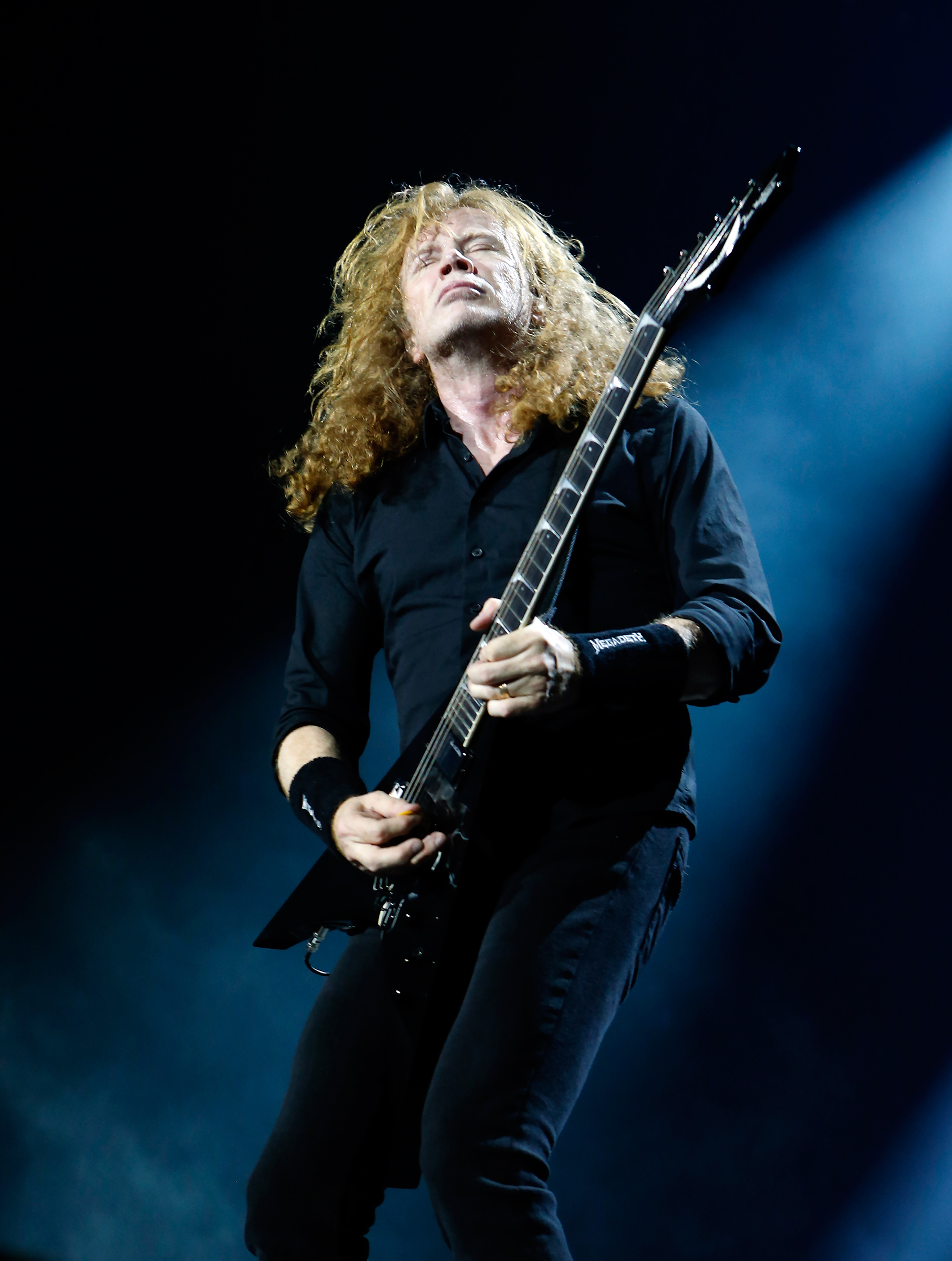 LONDON, ENGLAND - JUNE 16: Dave Mustaine of Megadeth performs during the Stone Free Festival at The O2 Arena on June 16, 2018 in London, England. (Photo by Chiaki Nozu/WireImage)