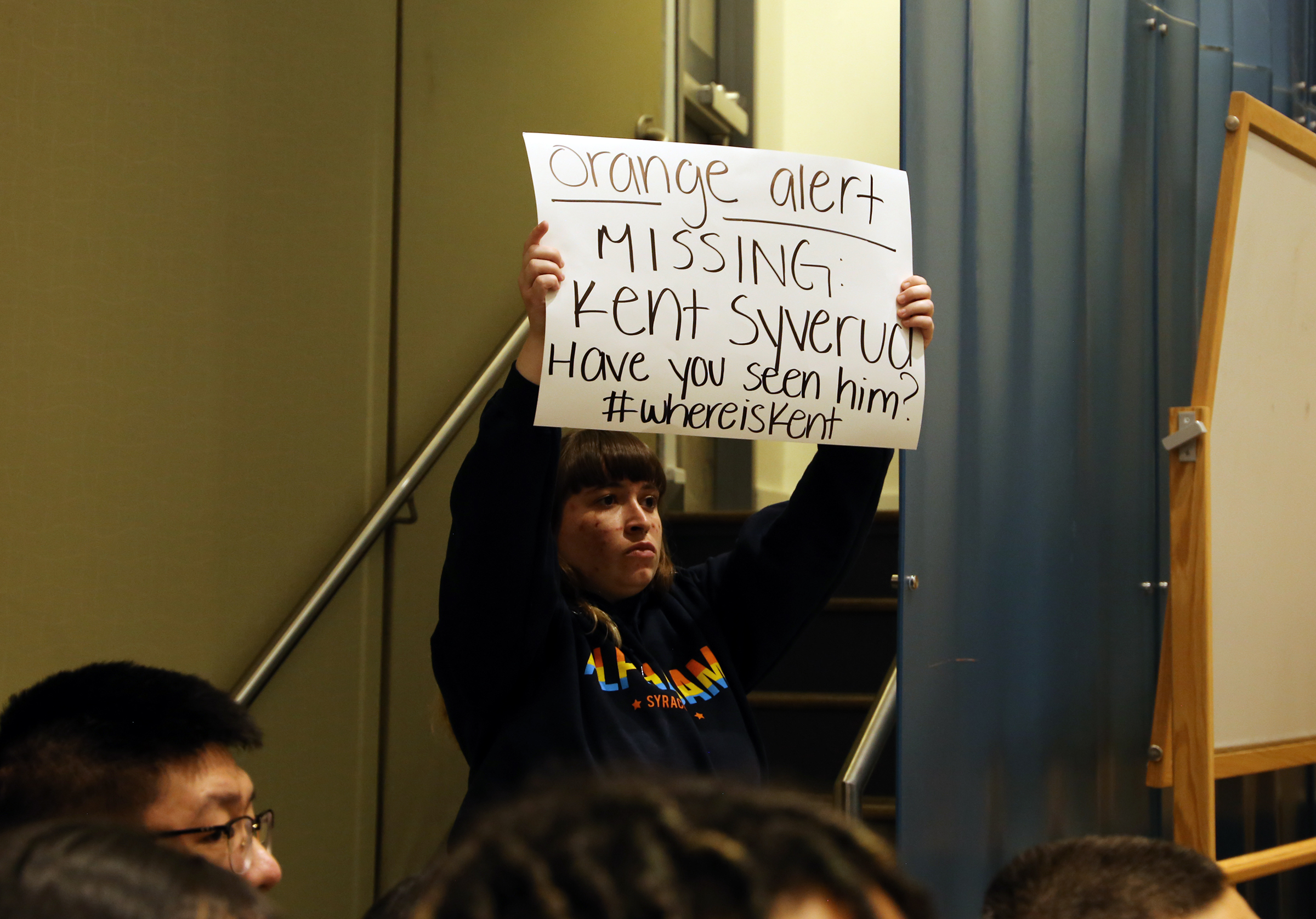 A student calls out the absence of Chancellor Kent Syverud during a forum led by Asian American and Asian International students in the Gifford Auditorium at Syracuse University on November 15th, 2019.
