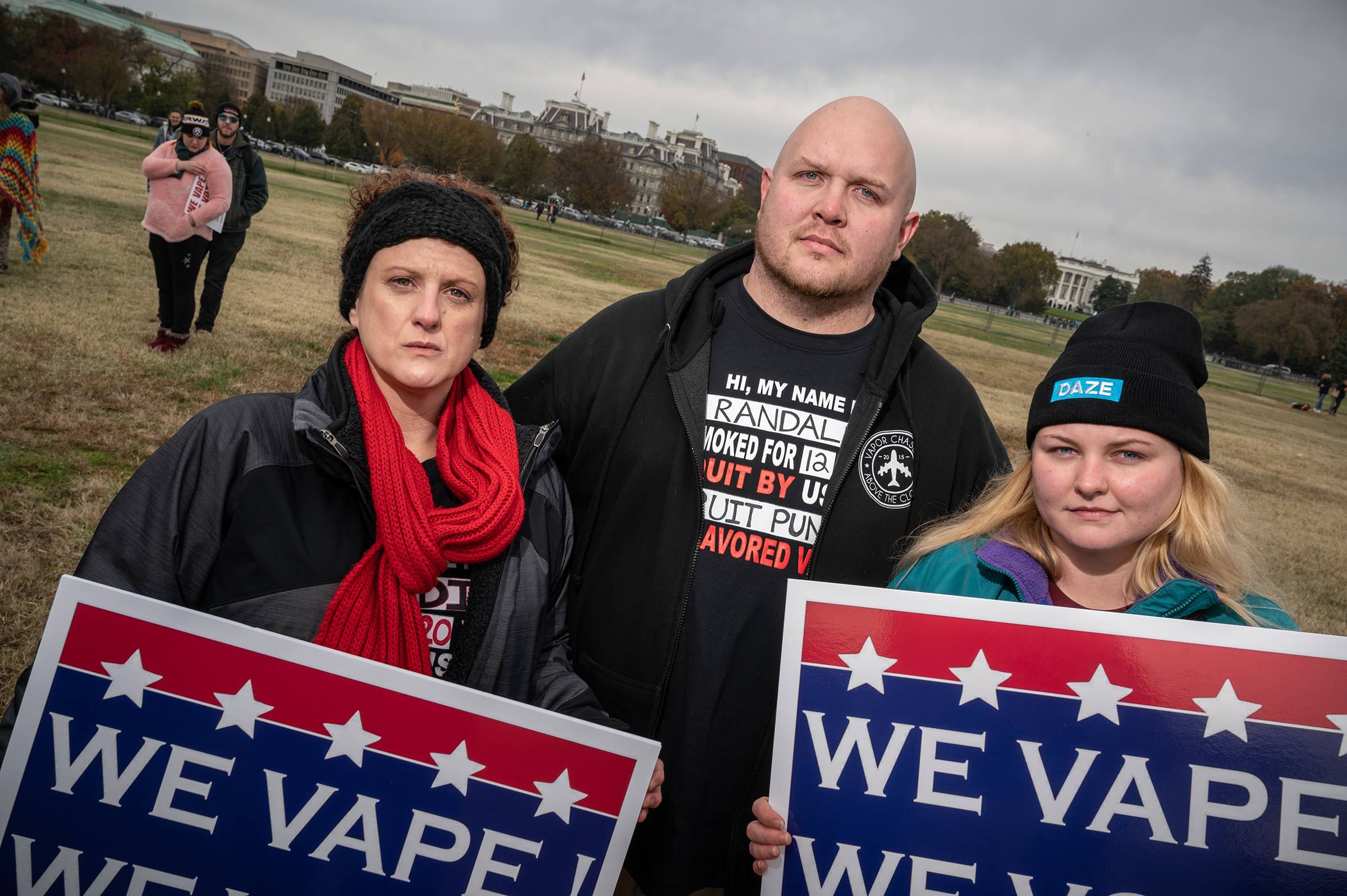 WASHINGTON, D.C. NOVEMBER 7, 2019 Heidi Kazle, Randall Smith and Jessica Yerigan join activists in favor of vaping and e-cigarettes near the National Mall and the White House to urge legislators to maintain legality for these products. Photo by David Butow/for Rolling Stone