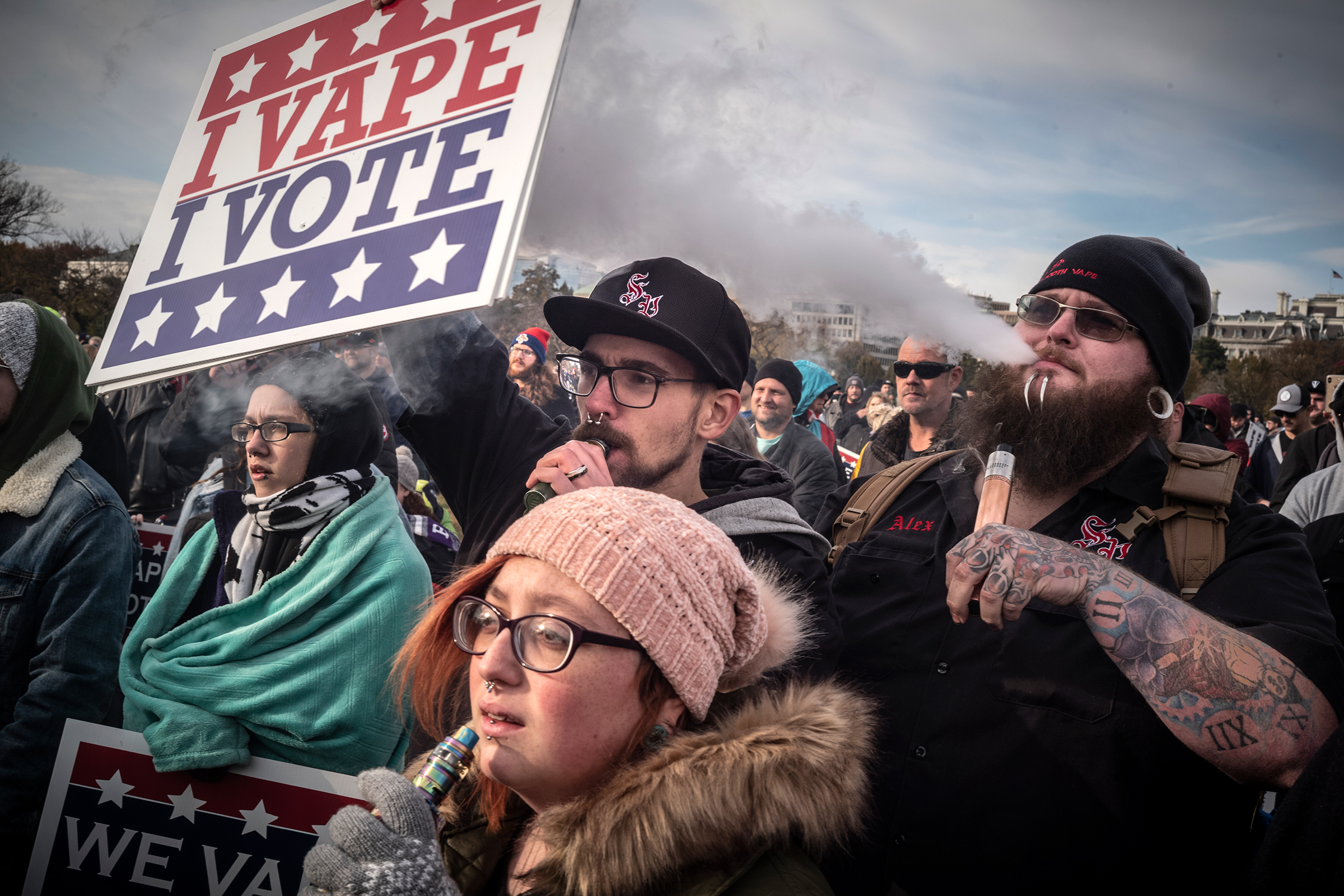 WASHINGTON, D.C. NOVEMBER 7, 2019 Activists in favor of vaping and e-cigarettes gather near the National Mall and the White House to urge legislators to maintain legality for these products. Photo by David Butow/for Rolling Stone