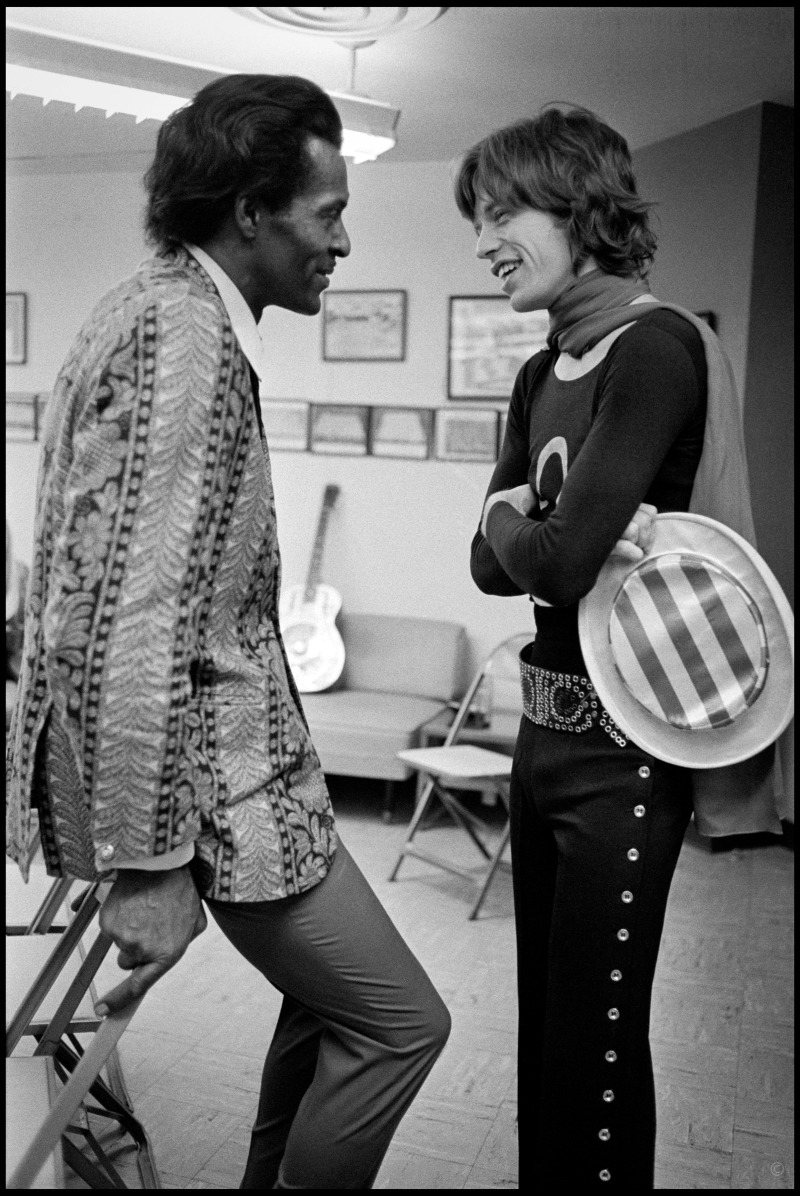 """School Days // Chuck Berry and Mick Jagger backstage, 1969. """"Here we have [rock's] Generation One talking to Generation Two,"""" Russell says. """"It's a pretty historic moment."""""""