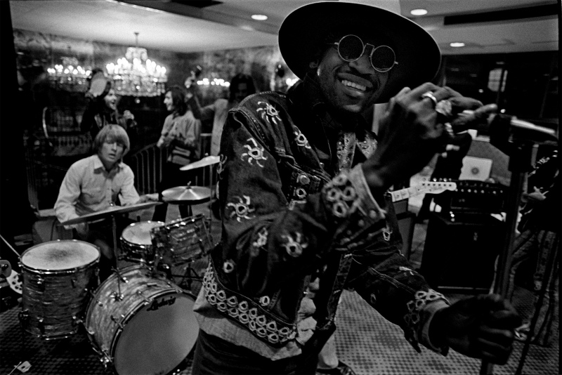 """Rock & Roll Circus//Taj Mahal and the Stones rehearsing for The Rock and Roll Circus at Londonderry Hotel in 1968. """"It was family entertainment,"""" Russell says of the concert film. """"When he came to the door, Keith leapt to his feet, strode over, and gave him a hug. Something I'd never seen Keith do."""""""