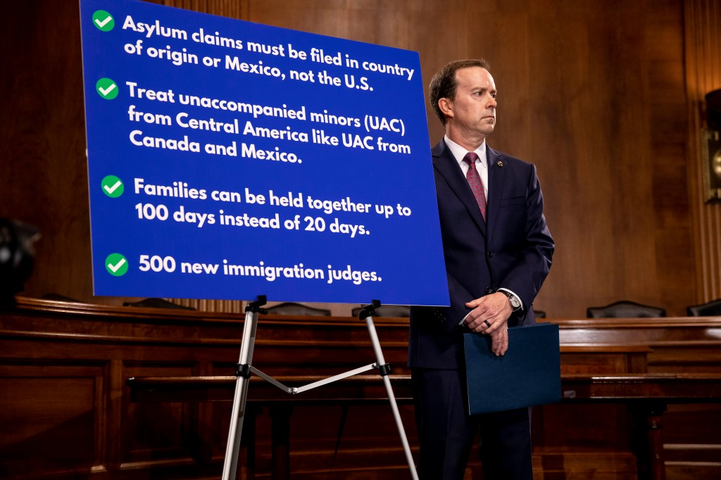 Customs and Border Protection acting Commissioner John Sanders listens during a news conference where Senate Judiciary Chairman Lindsey Graham, (R-SC)., is proposing legislation to address the crisis at the southern border at the U.S. Capitol on May 15, 2019 in Washington, DC.