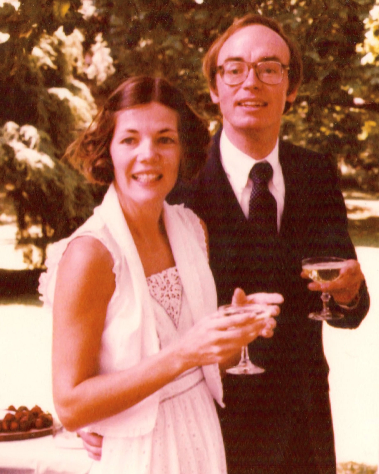 Warren on her wedding day in 1980, with husband Bruce Mann. Photograph courtesy of The Elizabeth Warren Campaign