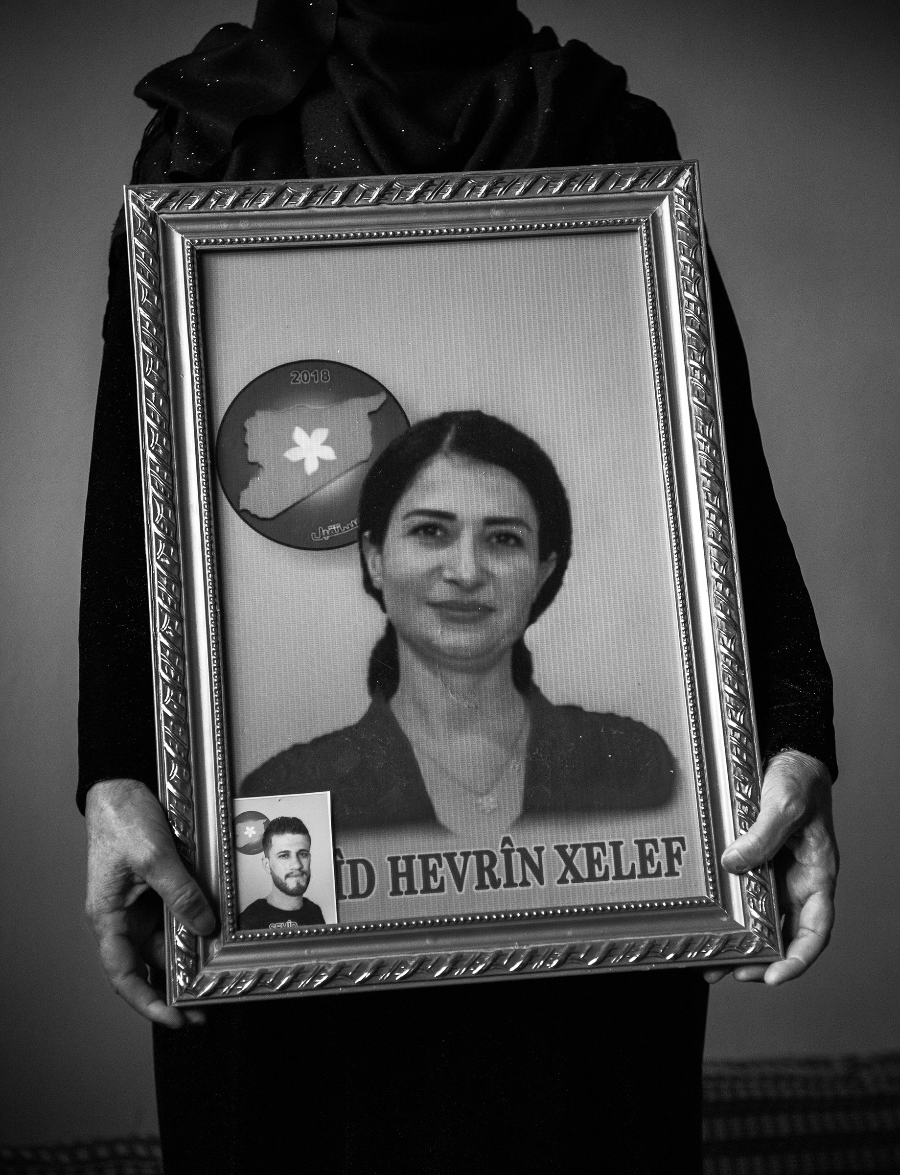 The mother of Hevrin Khalaf poses for a portrait at her house in Al-Malikiyah (or Derik as it's known to Kurds), Syria on October 20, 2019. Hevrin Khalaf and her driver were assassinated by Turkish-backed Syrian militants on October 12th while driving on the M4 highway in northeastern Syria. She was a Syrian Kurdish political leader of the Future Syria Party.