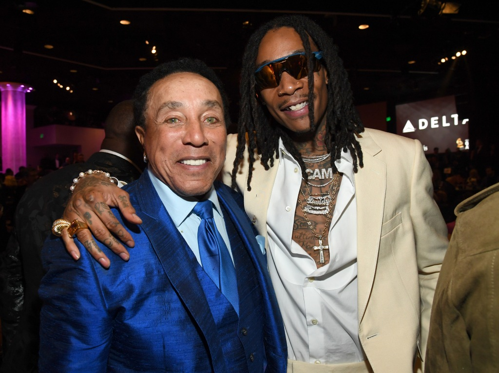 "BEVERLY HILLS, CALIFORNIA - JANUARY 25: Smokey Robinson and Wiz Khalifa attend the Pre-GRAMMY Gala and GRAMMY Salute to Industry Icons Honoring Sean ""Diddy"" Combs on January 25, 2020 in Beverly Hills, California. (Photo by Kevin Mazur/Getty Images for The Recording Academy)"