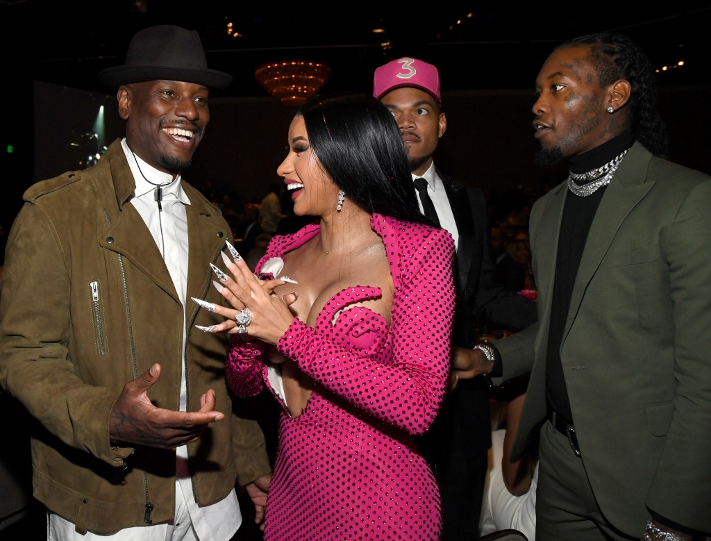 "BEVERLY HILLS, CALIFORNIA - JANUARY 25: (L-R) Tyrese Gibson, Cardi B, Chance the Rapper, and Offset attend the Pre-GRAMMY Gala and GRAMMY Salute to Industry Icons Honoring Sean ""Diddy"" Combs on January 25, 2020 in Beverly Hills, California. (Photo by Kevin Mazur/Getty Images for The Recording Academy)"