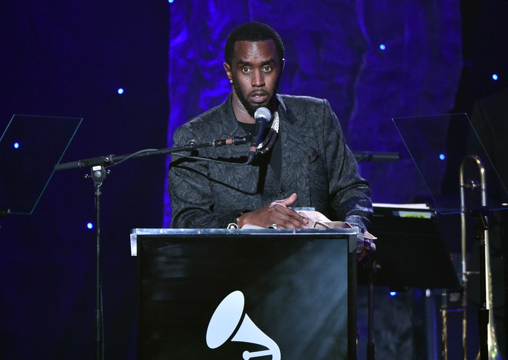 "BEVERLY HILLS, CALIFORNIA - JANUARY 25: Sean ""Diddy"" Combs speaks onstage during the Pre-GRAMMY Gala and GRAMMY Salute to Industry Icons Honoring Sean ""Diddy"" Combs on January 25, 2020 in Beverly Hills, California. (Photo by Gregg DeGuire/Getty Images for The Recording Academy)"