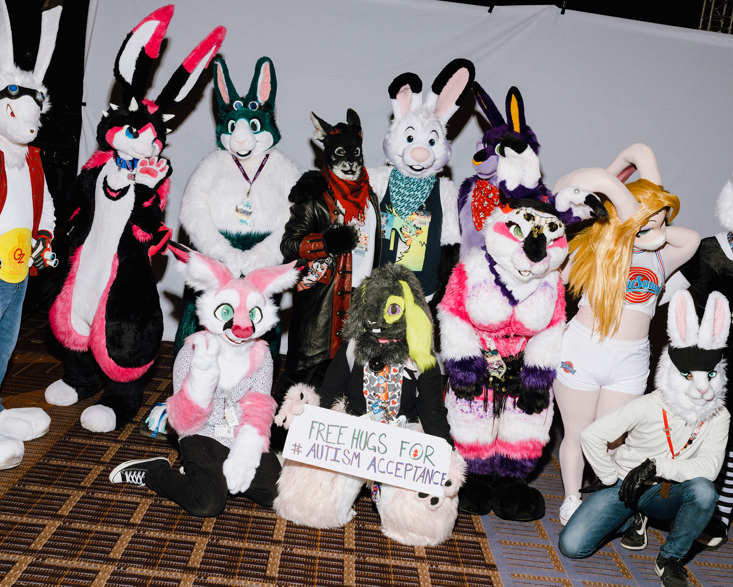9829 - December 4th, 2019 - Rosemont, IL - Midwest Furr Fest at Donald E. Stephens Convention Center. Furries gathering for a group photoshoot within their own specie categories.