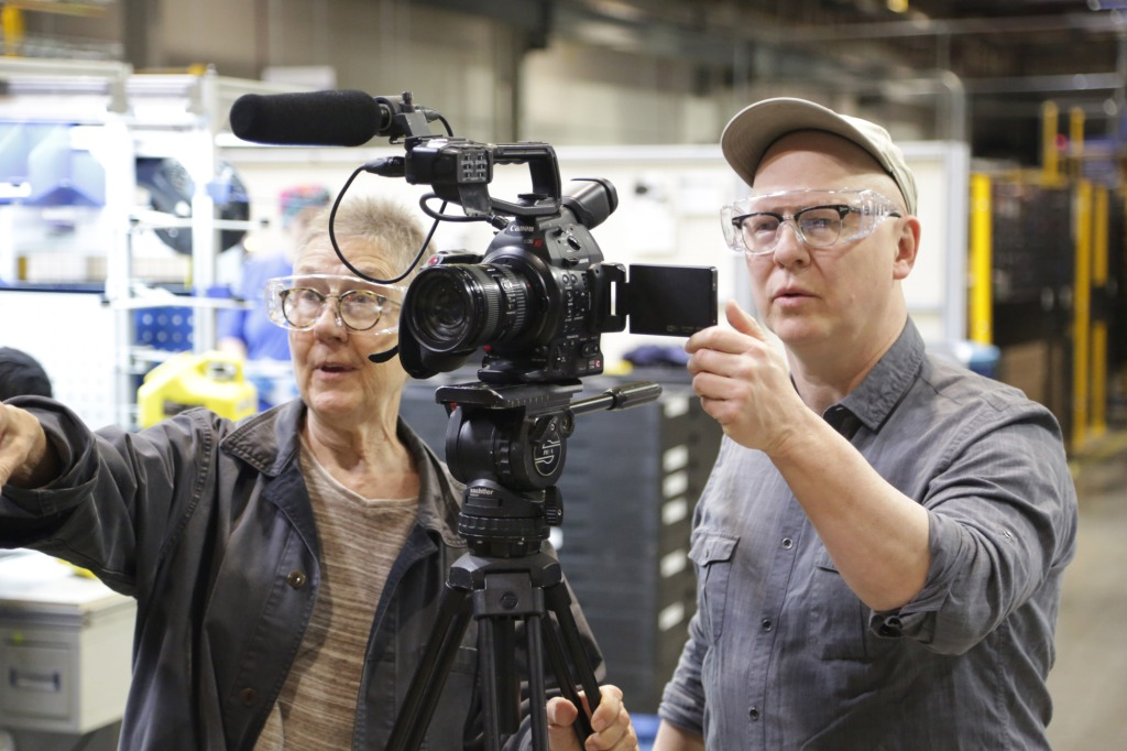 AMERICAN FACTORY directors Julia Reichert and Steven Bognar, filming at the Fuyao factory in Dayton.