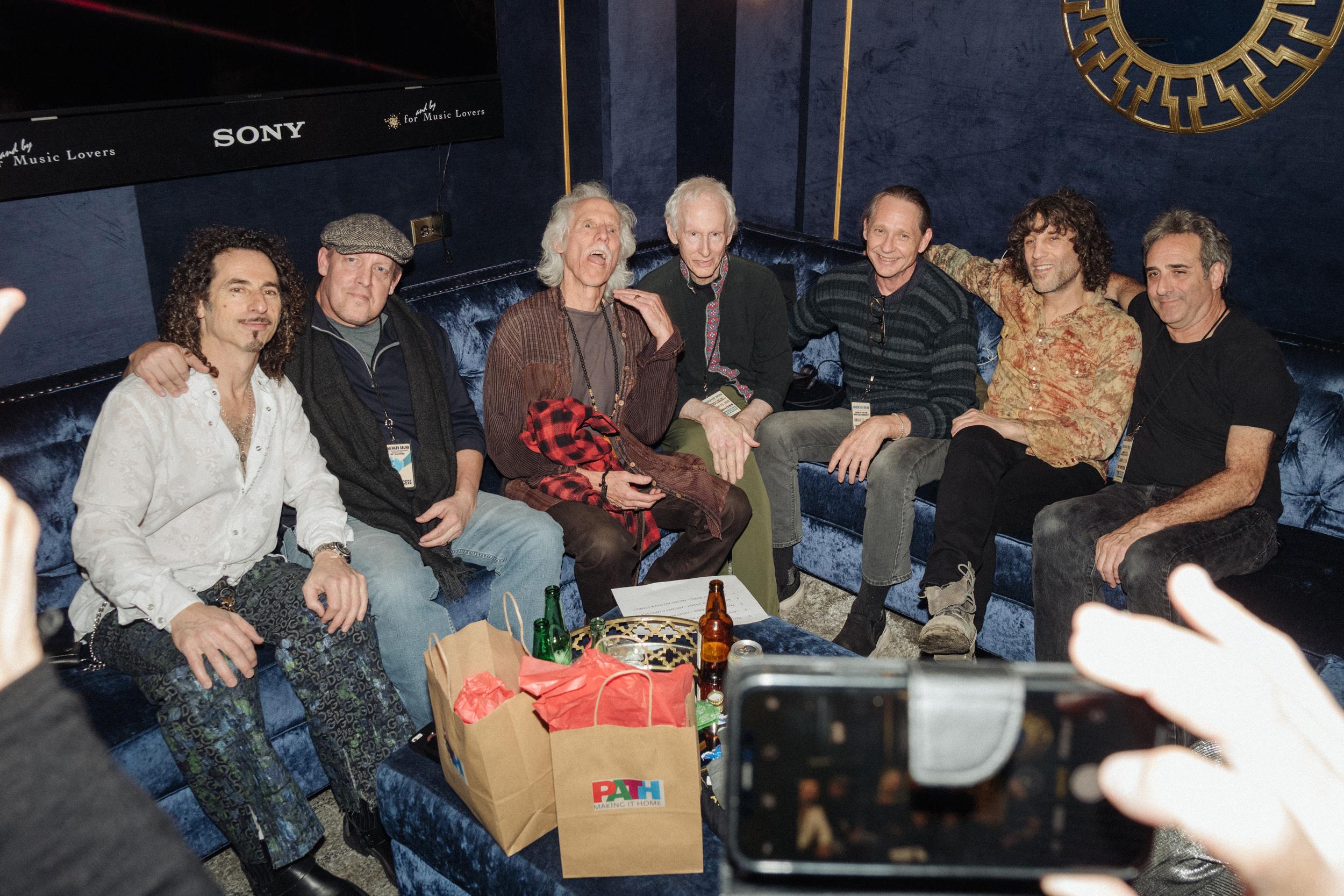 Densmore and Krieger backstage.