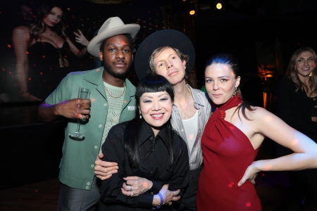 Leon Bridges, Marlene Tsuchii, Beck and Maggie Rogers pose at the CAA Grammy Party at Sunset Room in Hollywood, CA on Saturday, January 25, 2020.(photo: Alex J. Berliner/ABImages)