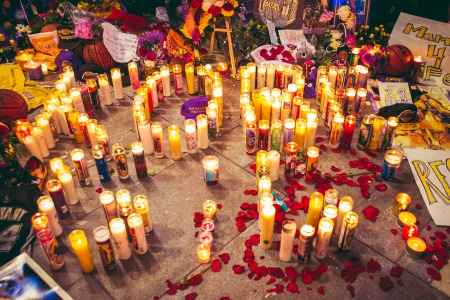 Photo recap of the Kobe Bryant memorial, taking place across the street from the Staples Center. Event was photographed on 1/26/2020, the day Kobe Bryant passed away in Calabasas, California during a helicopter crash.