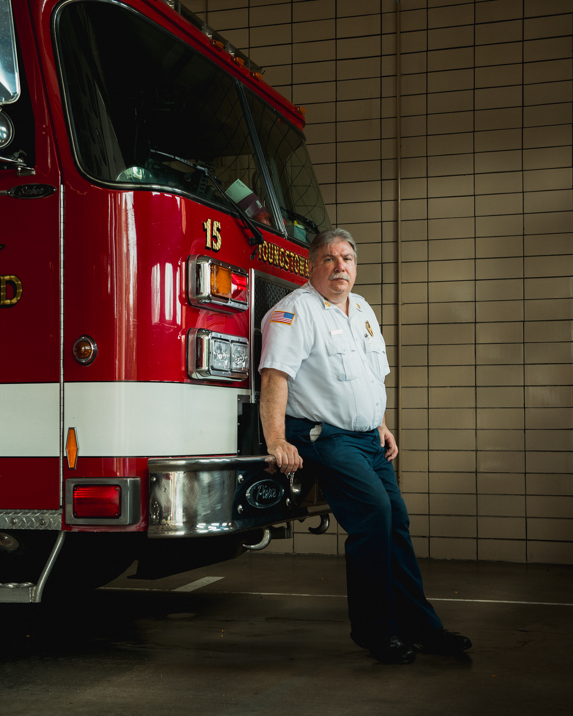 October 3, 2019: A portrait of Fire Chief Sil Caggiano at the Youngstown, OH, Fire Department. George Etheredge for Rolling Stone