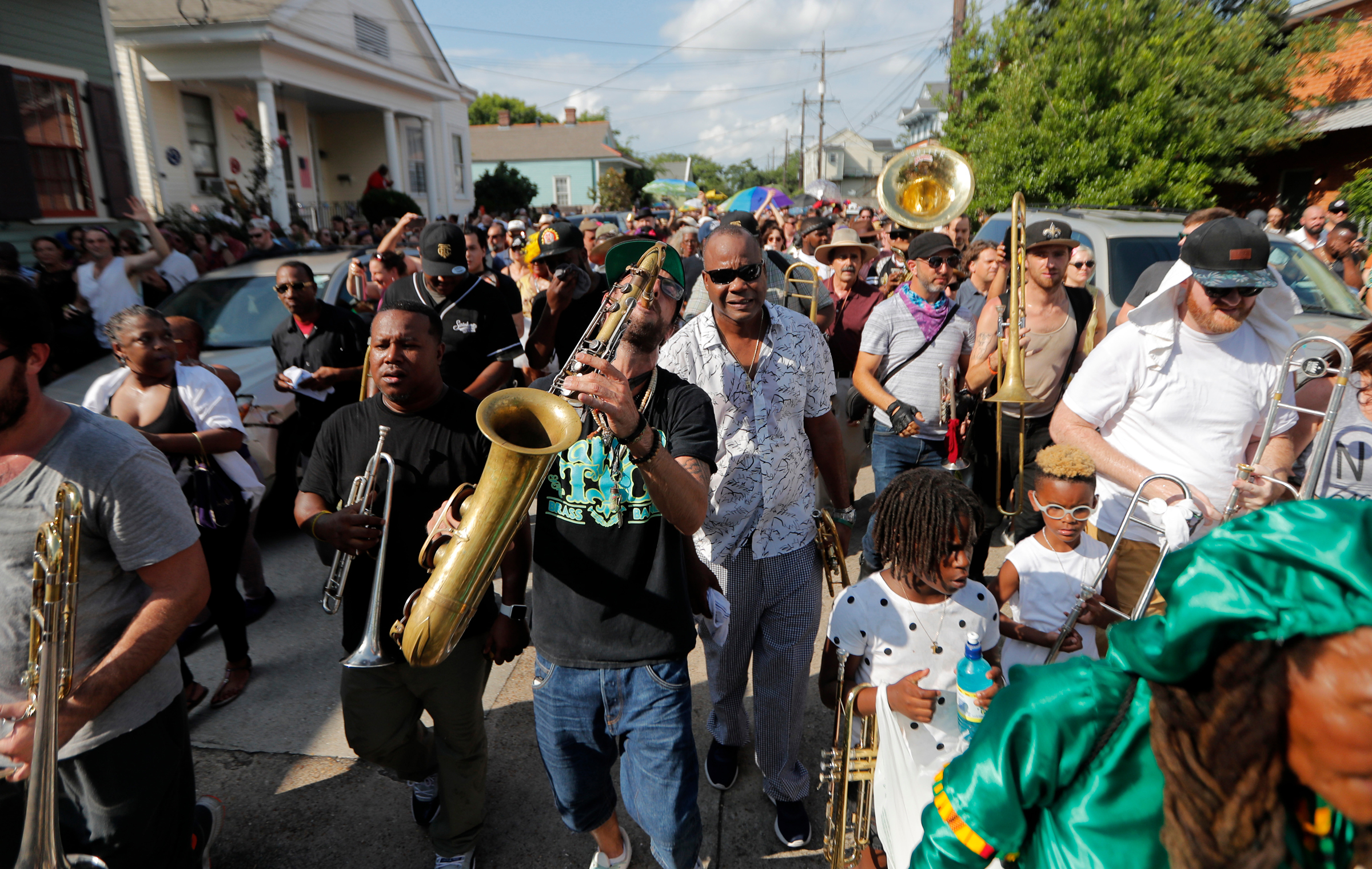 People participate in a second line parade in New Orleans, in honor of famed New Orleans musician Mac 'Dr John' Rebennack, who passed away ThursdayObit Mac 'Dr John' Rebennack, New Orleans, USA - 07 Jun 2019