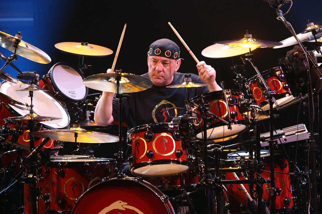 Neil Peart of the band Rush performs at the Nokia Theatre on May 6, 2008 in Los Angeles, California. (Photo by Jesse Grant/Getty Images)