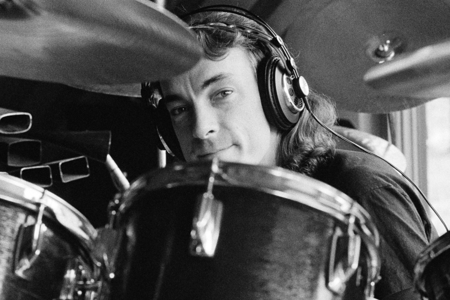 QUEBEC, CANADA - 1st SEPTEMBER: Drummer Neil Peart from Canadian progressive rock band Rush recording their album 'Permanent Waves' at Le Studio, Morin Heights, Quebec, Canada in October 1979. (Photo by Fin Costello/Redferns)