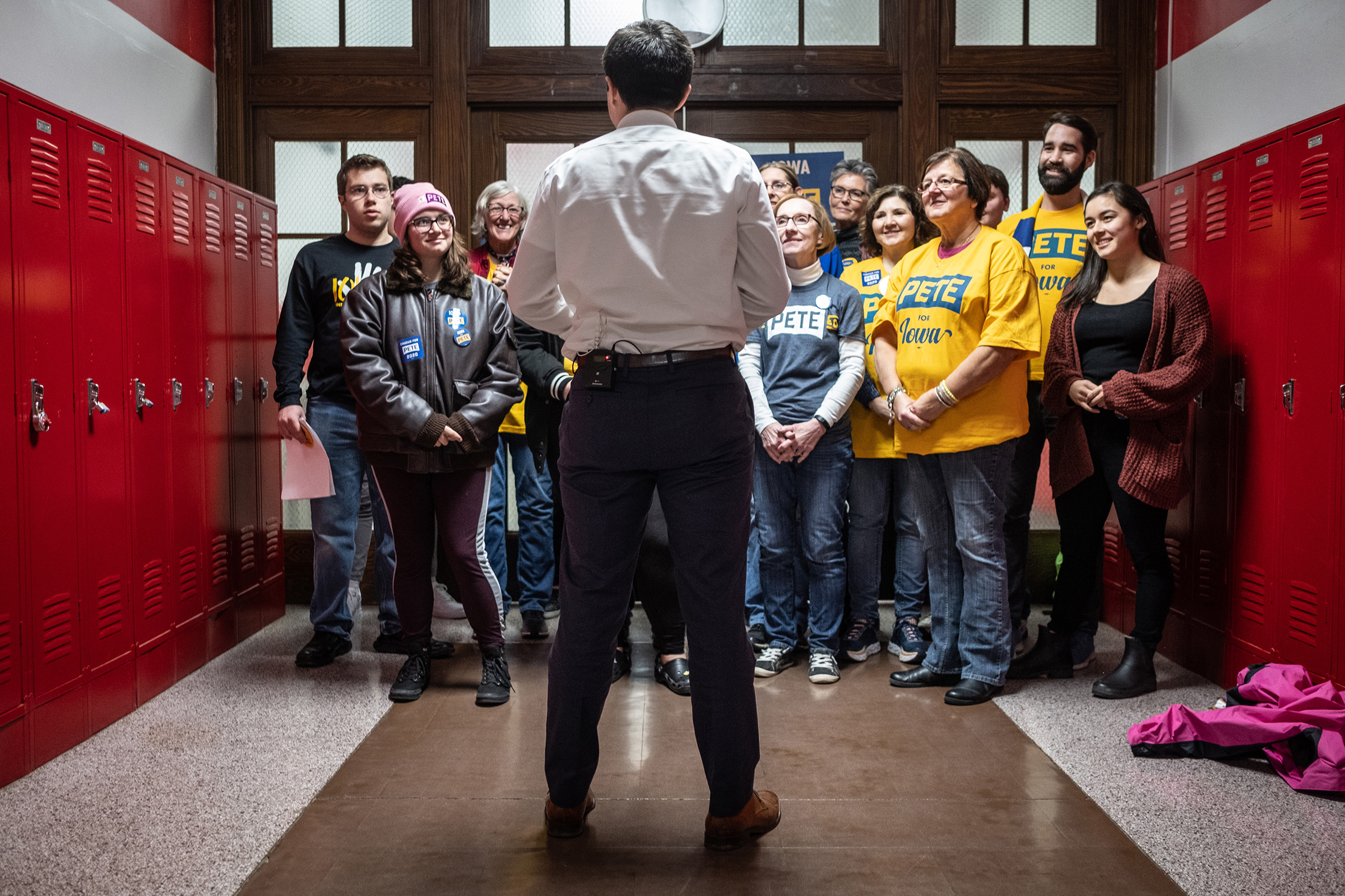 Mayor Pete Buttigieg of South Bend, Ind., a Democratic candidate for president, meets with people at Maquoketa Middle School in Maquoketa, Iowa on Monday, Dec. 30, 2019. (Jordan Gale/The New York Times)