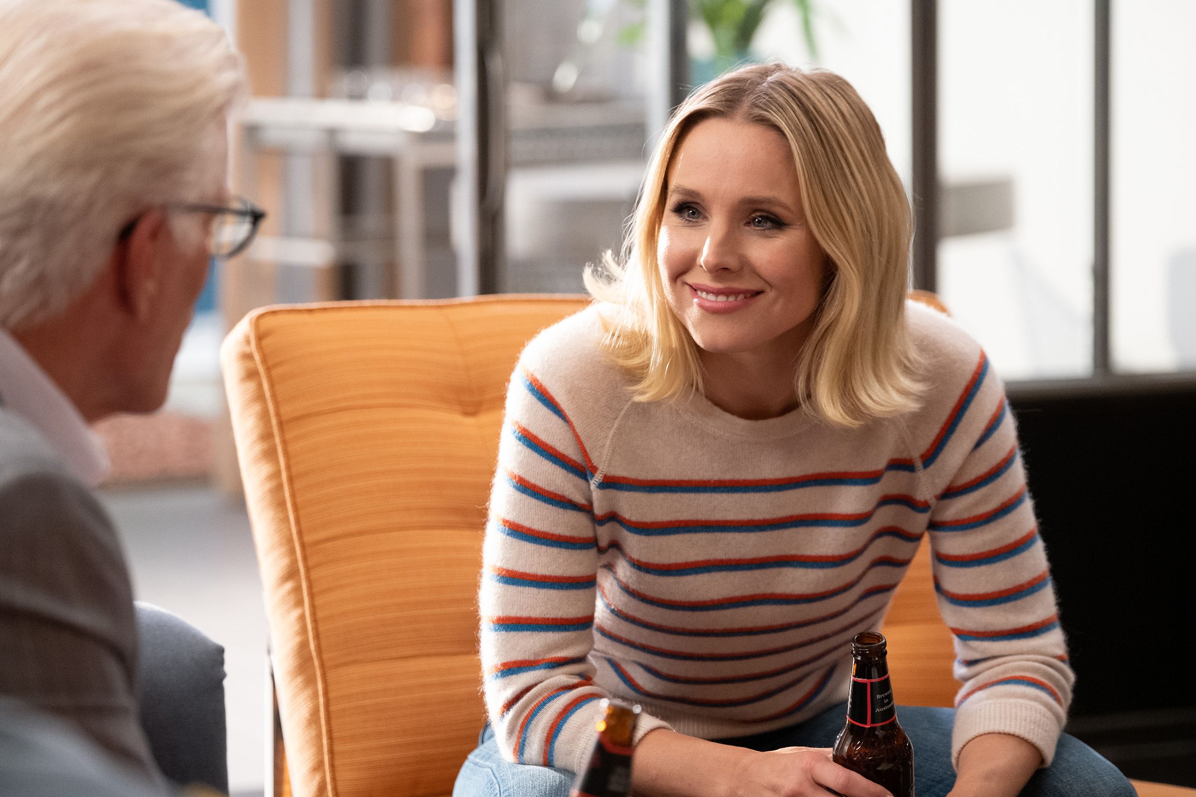 "THE GOOD PLACE -- ""Whenever You're Ready"" Episode 413/414 -- Pictured: (l-r) Ted Danson as Michael, Kristen Bell as Eleanor -- (Photo by: Colleen Hayes/NBC)"