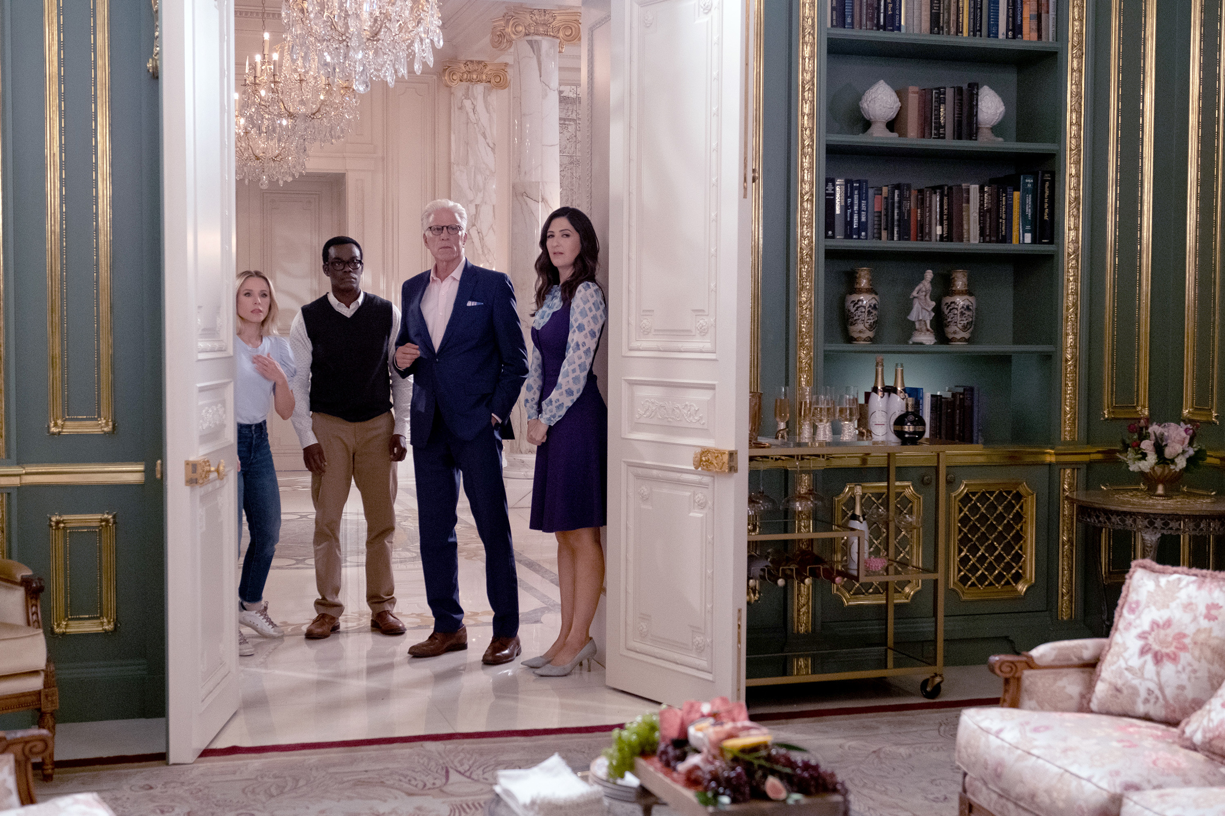 "THE GOOD PLACE -- ""Whenever You're Ready"" Episode 413/414 -- Pictured: (l-r) Kristen Bell as Eleanor, William Jackson Harper as Chidi, Ted Danson as Michael, D'Arcy Carden as Janet -- (Photo by: Colleen Hayes/NBC)"