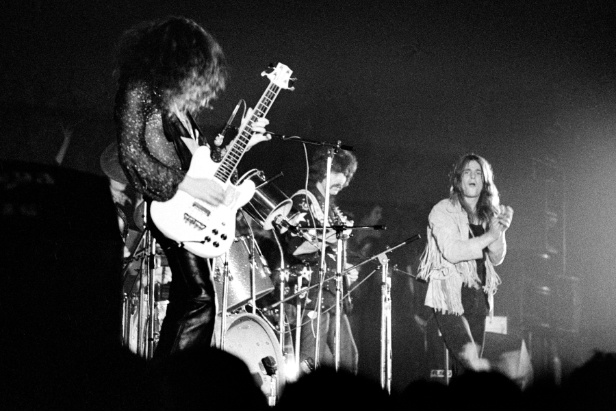 Black Sabbath performing live on stage at Paradiso in Amsterdam, Holland on December 04 1971. L-R Geezer Butler, Tony Iommi, Ozzy Osbourne