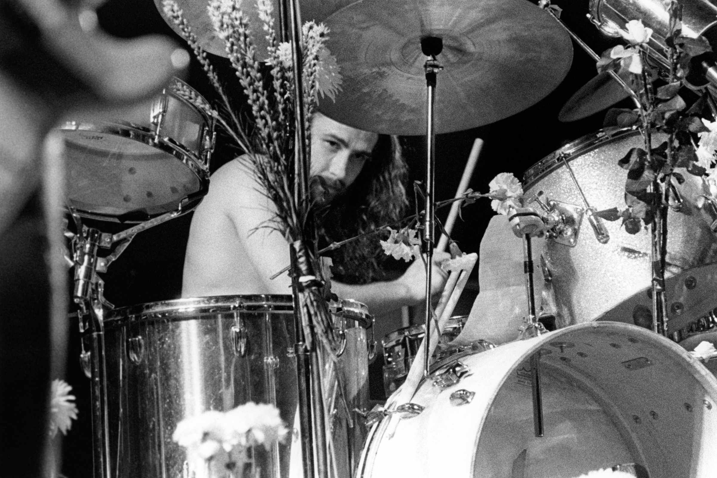 Drummer Bill Ward performing on stage at Alexandra Palace Festival, 1973.