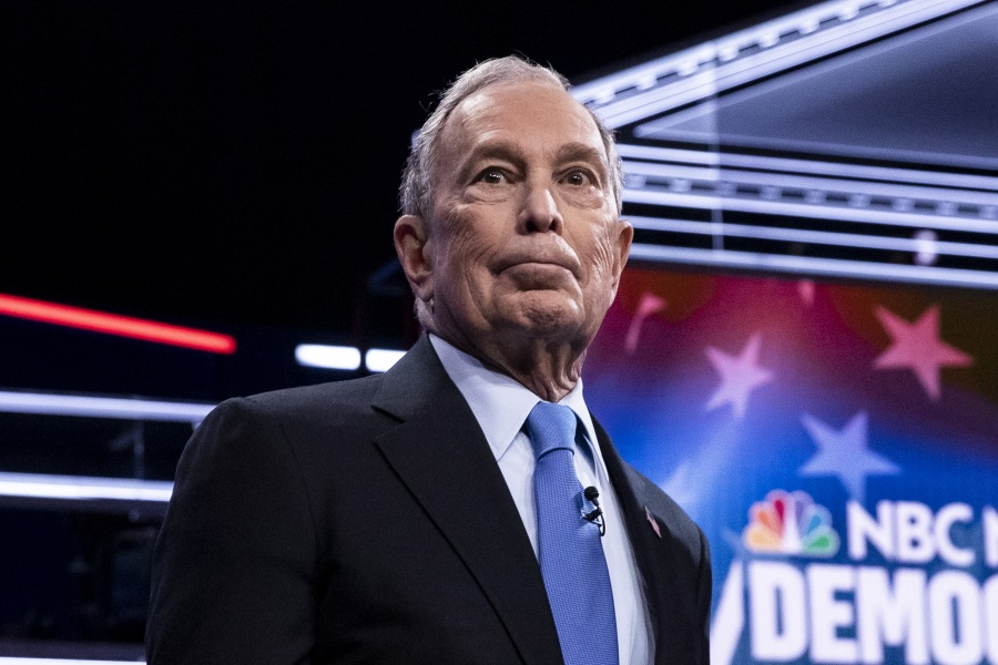 Democratic Presidential candidate, former NYC Mayor Michael Bloomberg, looks on at the start of the ninth Democratic presidential debate at the Paris Theater in Las Vegas, Nevada, USA, 19 February 2020.Democratic presidential debate in Las Vegas, USA - 19 Feb 2020